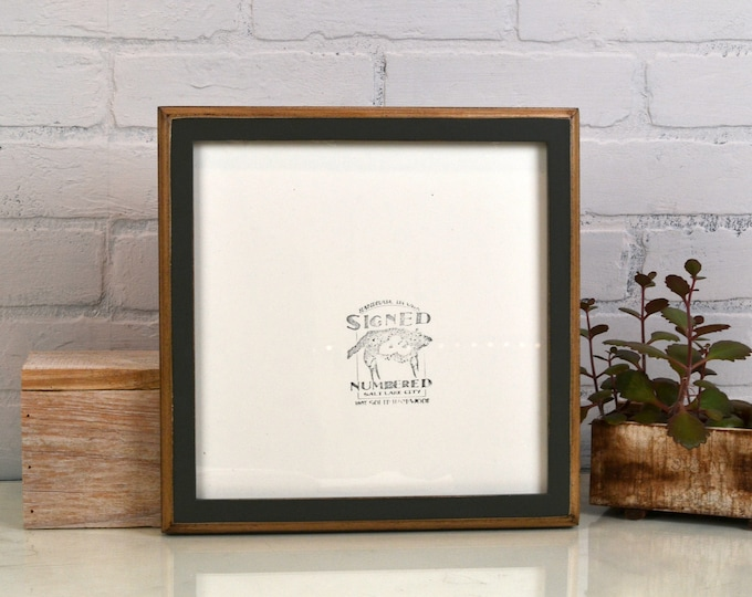 10x10 Picture Frame 1x1 2-Tone Style with Vintage Sable Gray Finish - IN STOCK - Same Day Shipping - 10x10 Square Frames Solid Hardwood