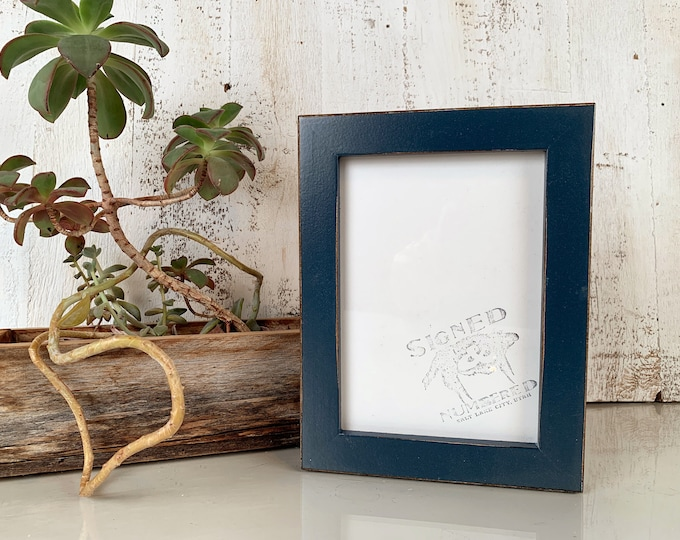 5x7 Picture Frame in 1x1 Flat Style with Vintage Navy Blue Finish - IN STOCK - Same Day Shipping - mid century decor 5 x 7 Photo Frame Blue