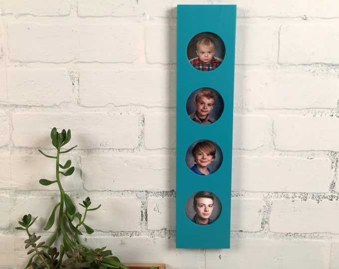 "Stacked Circle Window Picture Frame for (4) 2.5 x 3.5 Wallet size or 3x3"" Photos with Solid Turquoise Finish - IN STOCK Same Day Shipping"