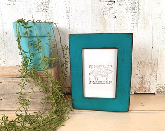 """4x6 Picture Frame - SHIPS TODAY - 1.5"""" wide Reclaimed Cedar with Super Vintage Turquoise Finish - In Stock - 4 x 6 Photo Frame Rustic Blue"""