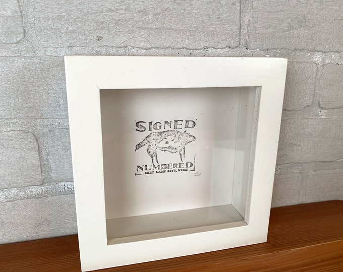"6x6 Shadow Box Frame with Solid White Finish Holds up to 1.5"" deep - IN STOCK - Same Day Shipping - 6x6 Shadowbox Frames"