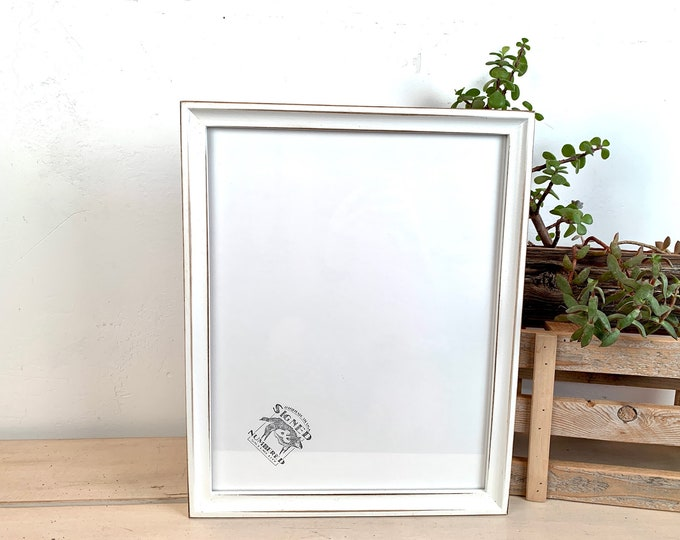 """11x14"""" Picture Frame - SHIPS TODAY - Foxy Cove style with Vintage White Finish - In Stock - 11 x 14 Handmade Frame"""