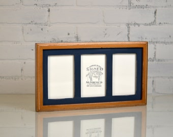 4x6 Triptych Picture Frame Three Windows for (3) Photos with Outside Cove Build Up Edge - Any Color Combo - Multi-Opening Collage Frame