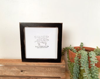 """6x6"""" Picture Frame in PeeWee Style with Vintage Black Finish - IN STOCK - Same Day Shipping - Gallery Frame 6 x 6 Black"""