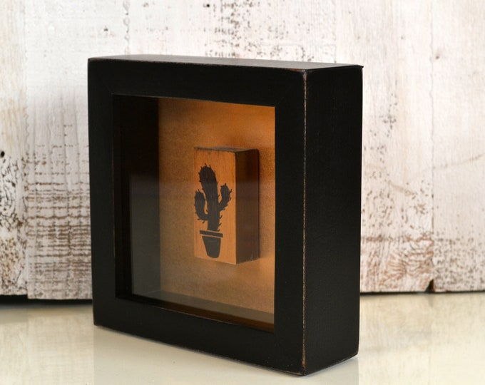 Handmade Small Square Shadow Box Frame - Holds up to 6 x 6 x 1.5 inches Deep - In Finish COLOR of YOUR CHOICE - Small Shadow Box Frame