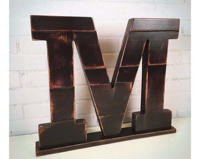 Handmade Reclaimed LARGE Wooden Block School Alphabet Letter in Color of YOUR CHOICE - 18 inches Tall Wood Letter - For Table Top or Hanging