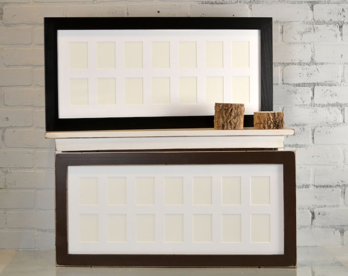"""11x26-inch """"School Days"""" Frame with Mat Window Openings for (14) 2.5x3.5"""" Wallet Size Photos in Standard Style and Colors OF YOUR CHOICE"""
