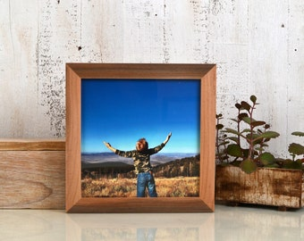 8x8 Square Picture Frame in 1x1 Flat Style with Natural WILLOW Finish - In Stock Same Day Shipping - 8 x 8 Photo Frame Rustic