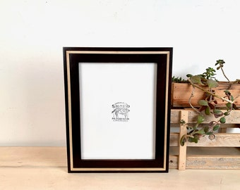 """8.5x11"""" Picture Frame - SHIPS TODAY - Vintage Dark Wood Tone Finish in Natural Poplar Wedge Style - In Stock Handmade Document Frame"""