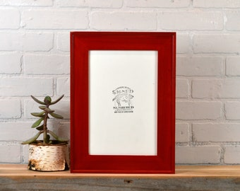 8x12 Picture Frame in Oslo Slope Style with Solid Red Dye Finish - IN STOCK Same Day Shipping - Handmade Classic 8 x 12 Frame