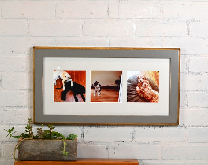 "9x19.5"" Picture Frame in 2-Tone Style with Mat Window Openings for (3) 5x5 Photos with Vintage Grey Finish - IN STOCK - Same Day Shipping"