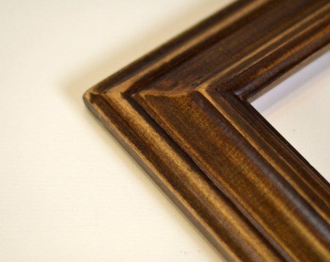 Vintage Color of Your Choice in Mulder Style - Choose your frame size: 2x2 up to 16x20 inches - Diploma Frame Solid Wood
