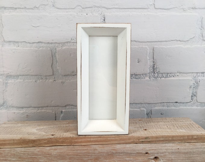 "Photo Booth Frame for 2 x 6"" Picture Strip in Park Slope Style with Vintage White Finish - In Stock - Same Day Shipping - 2x6 Size"