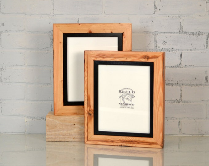 "8x10"" Reclaimed Pine Frame Build Up with SOLID Inner Color of YOUR CHOICE - Rustic Wooden Frame - 8x10 Photo Frame"