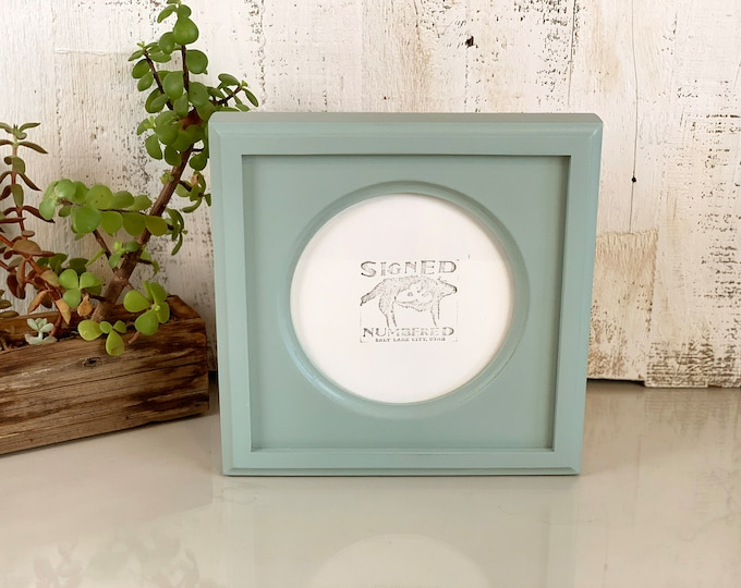 6x6 inch Circle Opening Photo Picture Frame with Outside Cove Build up with Solid Homestead Finish - IN STOCK - Same Day Shipping 6 x 6""