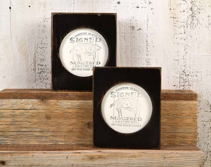 4x4 Pine Circle Opening Picture Frame in Vintage Black - IN STOCK - Same Day Shipping - 4 x 4 inch Circle Round Picture Frame
