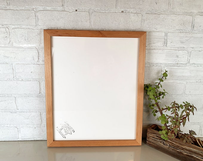 """14x17 Picture Frame in 1x1 Flat Style on Alder with Burnished Natural Finish - Handmade 14 x 17"""" Photo Frame - IN STOCK  Same Day Shipping"""