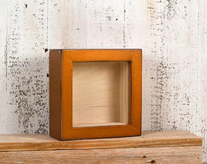 """Small Shadow Box Frame - Holds up to 4.5 x 4.5 x 1.25"""" Deep - Vintage Roman Gold Finish - IN STOCK - Same Day Shipping 4x4 Display Box"""