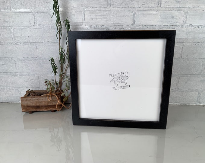 """11x11"""" Picture Frame in 1x1 Flat Style with Vintage Black Finish - IN STOCK - Same Say Shipping - Handmade 11 x 11 Photo Frame"""