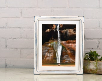 10x12 Picture Frame in Shallow Bones Style with Vintage Blue under White Finish - IN STOCK - Same Day Shipping 10 x 12 inch Wood Frame