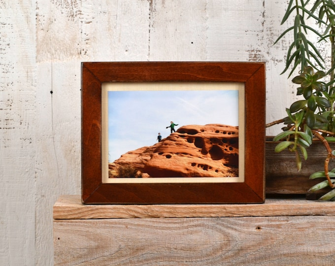 5x7 inch Picture Frame in 1x1 Flat Style with Super Vintage Wood Tone Finish - IN STOCK - Same Day Shipping - 5 x 7