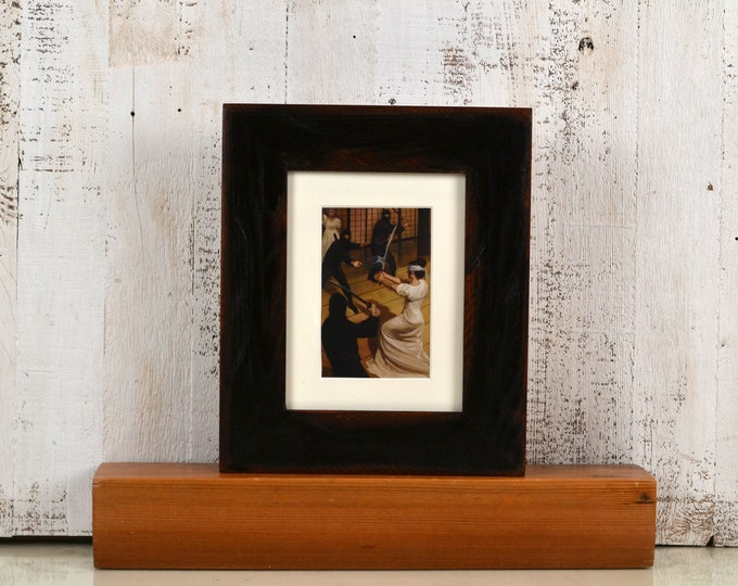 """6x8 inch Picture Frame in 2.25"""" Reclaimed Redwood with Super Vintage Black Finish - IN STOCK - Same Day Shipping 6 x 8 Frame Upcycled"""