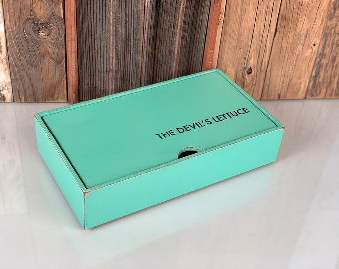 "Keepsake Box ""The Devil's Lettuce"" Handmade Solid Wood Box with Vintage Robin's Egg Green Finish gift storage IN STOCK - Same Day Shipping"