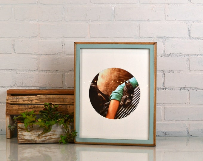 "11x14"" Picture Frame in 1x1 2-Tone Style with Vintage Homestead Green Finish - IN STOCK - Same Day Shipping - 11 x 14 Solid Hardwood"