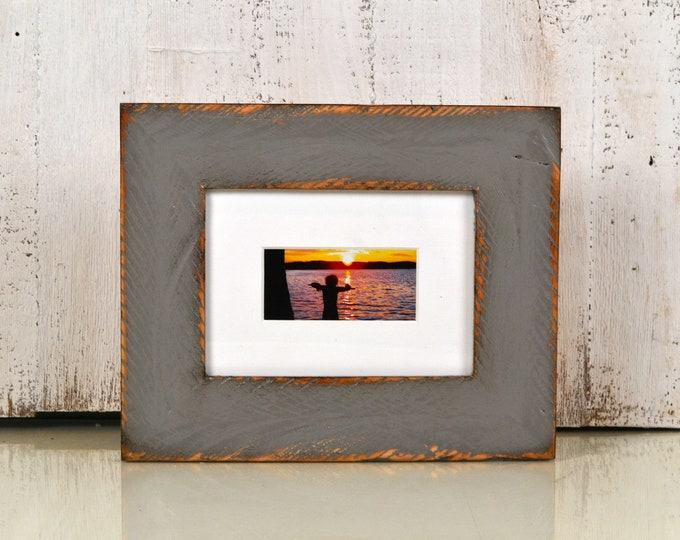 "5x7 Picture Frame in 2.25"" Wide Rustic Reclaimed Wood in Finish COLOR of YOUR CHOICE - Handmade 5 x 7 Photo Frame Salvaged Wood"