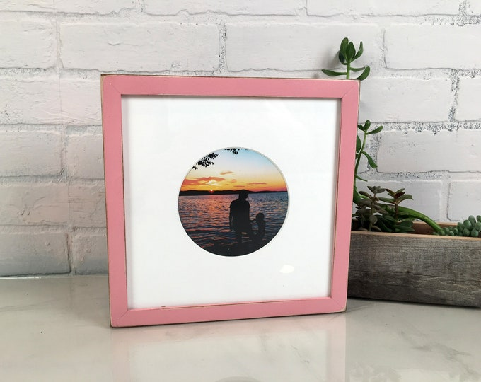 9x9 Square Picture Frame in Peewee style with Vintage Rose Pink Finish - In Stock Same Day Shipping - 9 x 9 inch Photo Frame Pink