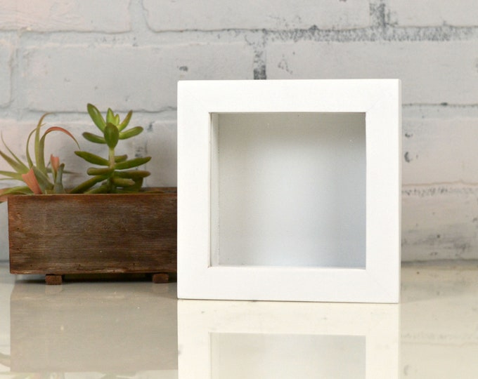 Handmade Small Square Shadow Box Frame - Holds up to 4.5 x 4.5 x 1.25 inches Deep - In SOLID FINISH COLOR of Your Choice - Small Shadow Box