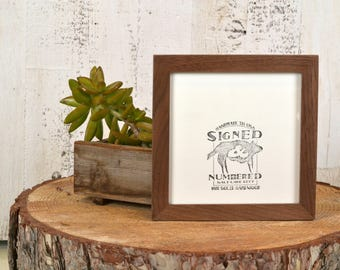 """6x6"""" Picture Frame - SHIPS TODAY - Peewee Style in Solid Natural Walnut - In Stock - Gallery Frame 6 x 6 Solid Walnut Mid Century Style"""