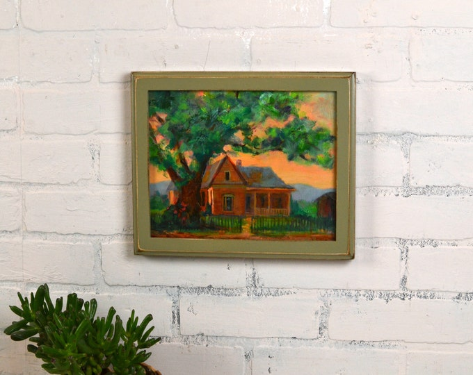 8x10 Picture Frame in 1x1 Outside Cove Style with Vintage Old Green Finish - IN STOCK - Same Day Shipping - Rustic Painting Frame 8 x 10