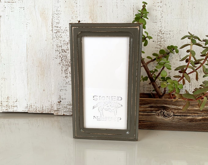 """4x8 Picture Frame for 2x6"""" Photo Booth Strip in 1x1 Double Cove Style with Vintage Sable Gray Finish - IN STOCK - Same Day Shipping Frame"""