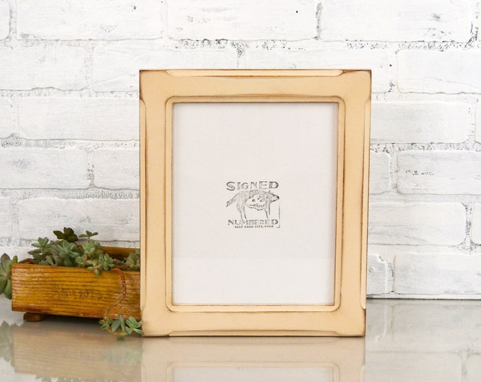 """8x10 Picture Frame in Wide Bones Style  - Vintage Ivory Finish - IN STOCK - Same Day Shipping - Rustic Wood Frame 8 x 10"""" Antique White"""