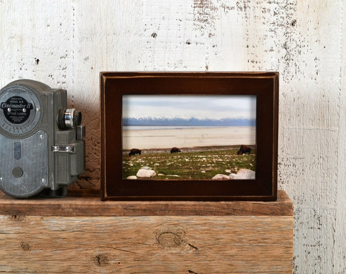 4x6 Picture Frame in 1x1 Outside Cove Style with Vintage Dark Wood Tone Finish - Gift IN STOCK - Same Day Shipping - 4 x 6 Photo Frame