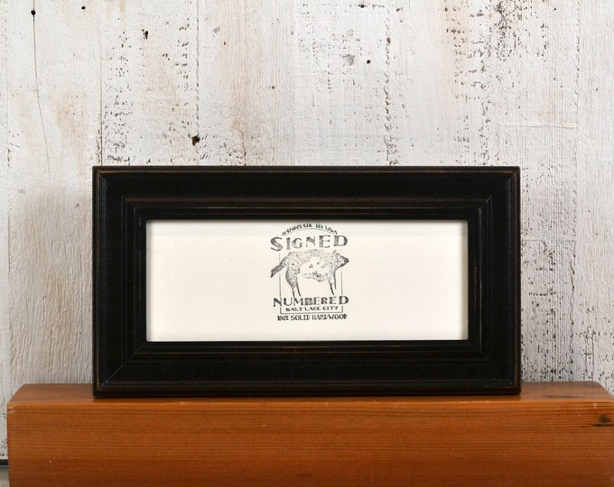 "4x10"" Picture Frame in Diplomat Style with Vintage Black Finish - IN STOCK  Same Day Shipping - 4 x 10 inch Panoramic Photo Frame"