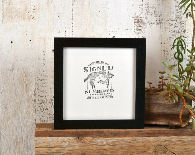 "6x6"" Picture Frame in PeeWee Style with Solid Black Finish - IN STOCK - Same Day Shipping - Gallery Frame 6 x 6 Solid Wood"