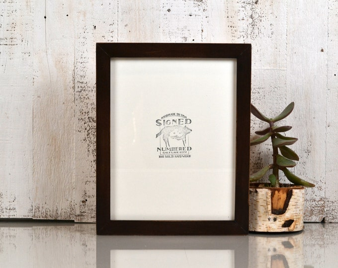 8.5 x 11 Picture Frame in 1x1 Flat Style with Vintage Dark Wood Tone Finish - IN STOCK Same Day Shipping - 8.5x11 inch Frame