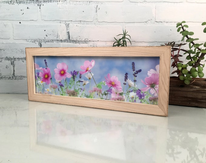 "5x15"" Picture Frame in 1x1 Flat Style with Burnished Natural Poplar Finish - IN STOCK - Same Day Shipping - 15 x 5 Panoramic Photo Frame"