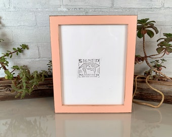 8x10 Picture Frame in 1x1 Flat Style with Vintage Coral Finish - IN STOCK - Same Day Shipping - Rustic Solid Wood Frame 8 x 10