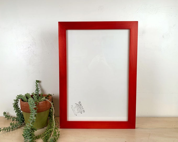 """13x19"""" Picture Frame in 1.5 Standard Style with Solid Red Dye Finish - IN STOCK - Same Day Shipping - 13 x 19 Frame Red"""