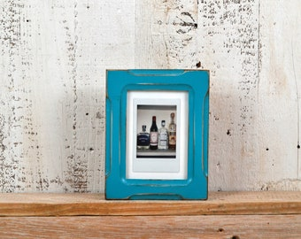 Picture Frame for Small Instant Camera Print in Bones Style with Vintage Turquoise Finish - 3.25 x 4.5 inch Frame IN STOCK Same Day Shipping