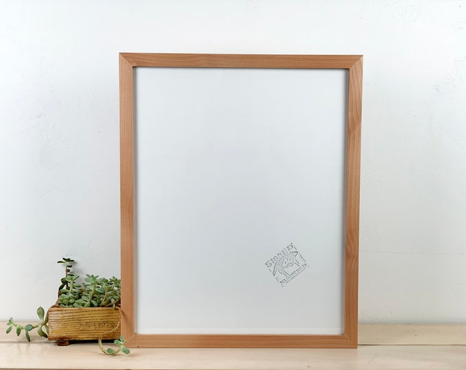 "16x20"" Picture Frame in 1x1 Flat Style with Solid Natural Alder Finish - IN STOCK - Same Day Shipping - 16 x 20 inch Poster or Photo Frame"