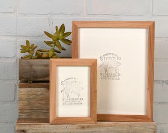 Natural WILLOW Picture Frame in Peewee style- Choose Size: 2x2 up to 11x14  - solid hardwood, mid century, modern, minimal