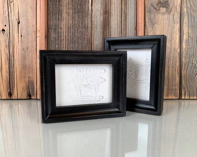 """3x4"""" Photo Picture Frame in Foxy Cove Style with Vintage Black Finish - IN STOCK -  Same Day Shipping - 3x4 Wallet Size Picture Frame"""