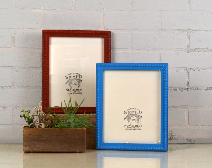 8x10 Picture Frame in 1x1 Decorative Bumpy Style in Vintage Finish Color of Your Choice - Can Be Any Color - 8 x 10 inch Rustic White Frame