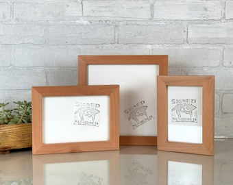 Natural ALDER Picture Frame in 1x1 Flat style- Choose Size: 2x2 up to 18x24  - solid hardwood, simple, modern, minimal