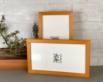 """7x17"""" Panoramic Picture Frame in 1x1 Flat Style Vintage Honey on Alder Finish - Includes mat for 5x15 photo - IN STOCK - Same Day Shipping"""