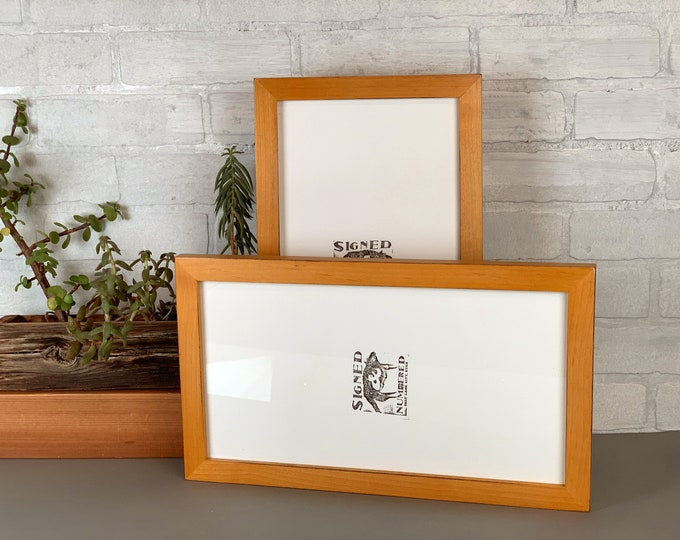 "7x17"" Panoramic Picture Frame in 1x1 Flat Style Vintage Honey on Alder Finish - Includes mat for 5x15 photo - IN STOCK - Same Day Shipping"